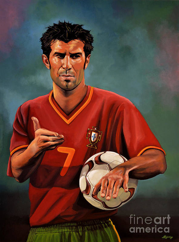 Luis Figo Poster featuring the painting Luis Figo by Paul Meijering