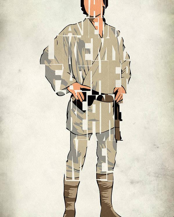 Luke Skywalker Poster featuring the digital art Luke Skywalker - Mark Hamill by Inspirowl Design