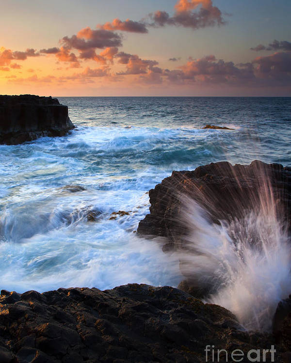 Lumahai Poster featuring the photograph Lumahai Sea Explosion by Mike Dawson