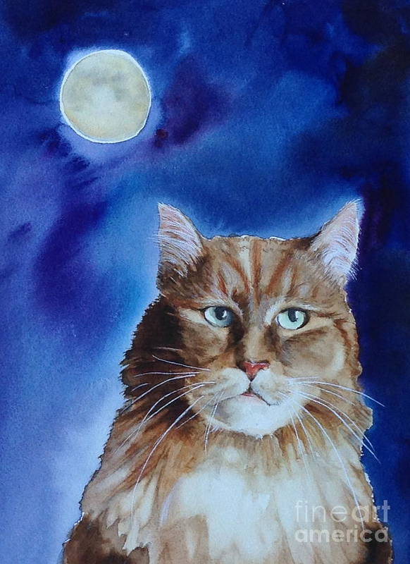 Watercolor Poster featuring the painting Lunar Cat by Kym Stine