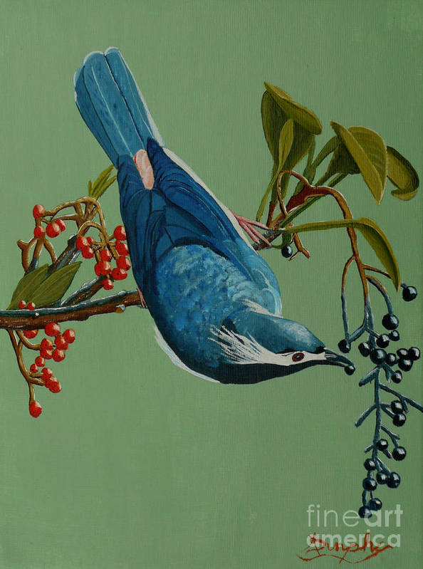 Bird Poster featuring the painting Lunch Time For Blue Bird by Anthony Dunphy