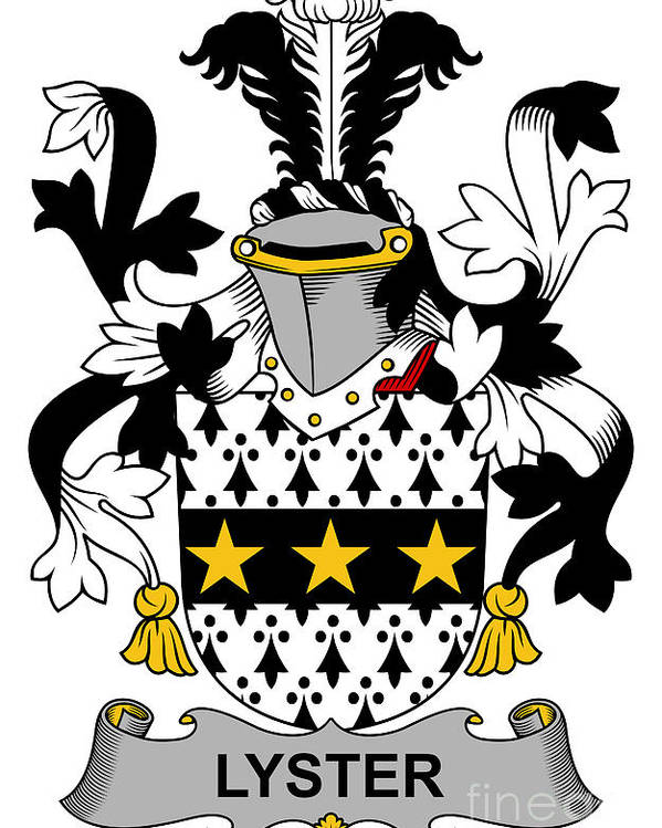 Lyster Poster featuring the digital art Lyster Coat Of Arms Irish by Heraldry