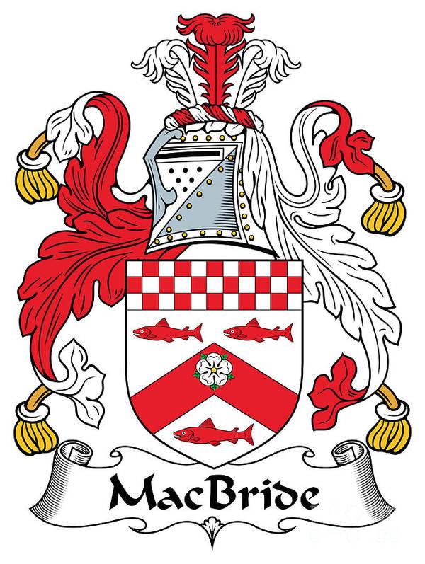 Macbride Poster featuring the digital art Macbride Coat Of Arms Irish by Heraldry