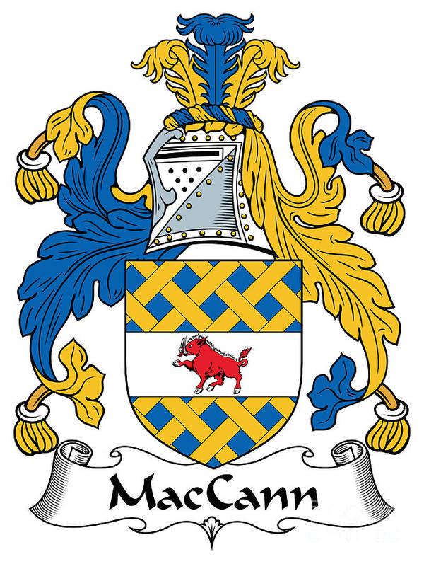 Maccann Poster featuring the digital art Maccann Coat Of Arms Irish by Heraldry