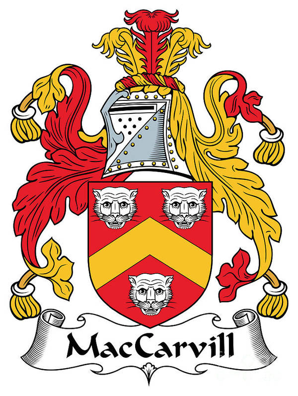 Maccarvill Poster featuring the digital art Maccarvill Coat Of Arms Irish by Heraldry