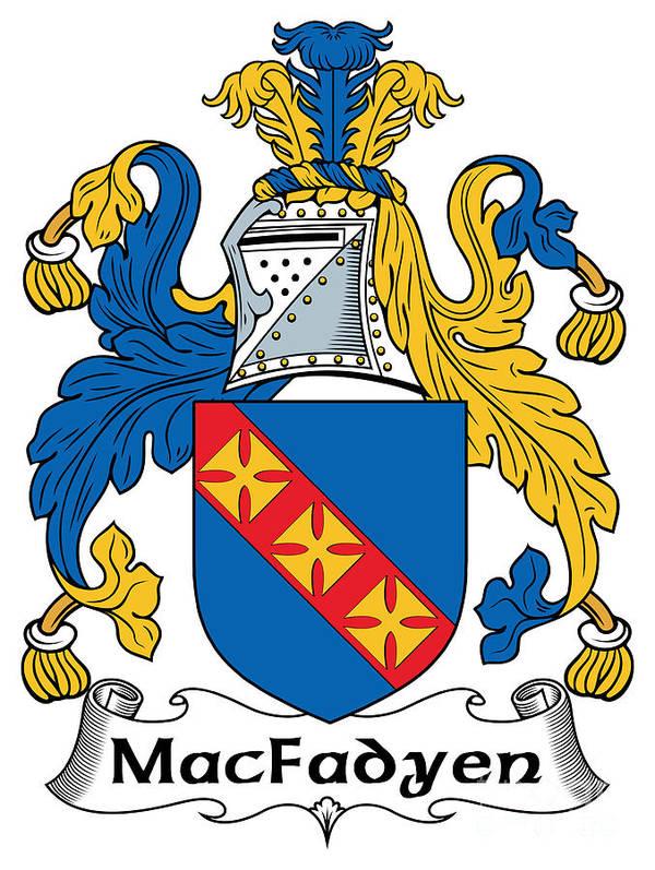 Macfadyen Poster featuring the digital art Macfadyen Coat Of Arms II Irish by Heraldry