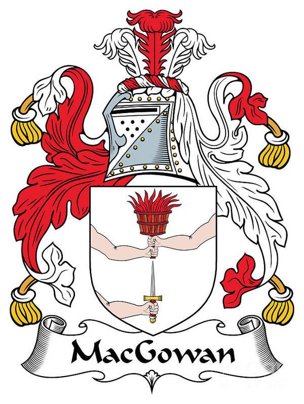 Macgowan Poster featuring the digital art Macgowan Coat Of Arms Irish by Heraldry