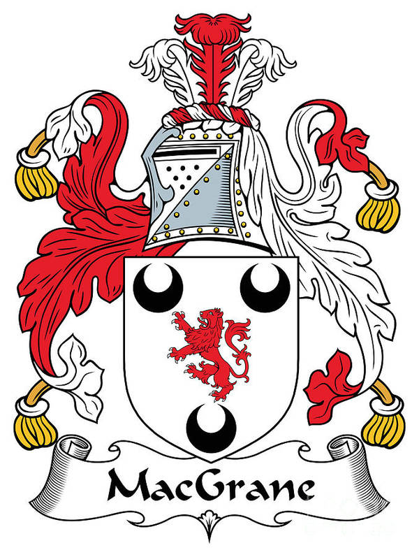 Macgrane Poster featuring the digital art Macgrane Coat Of Arms Irish by Heraldry