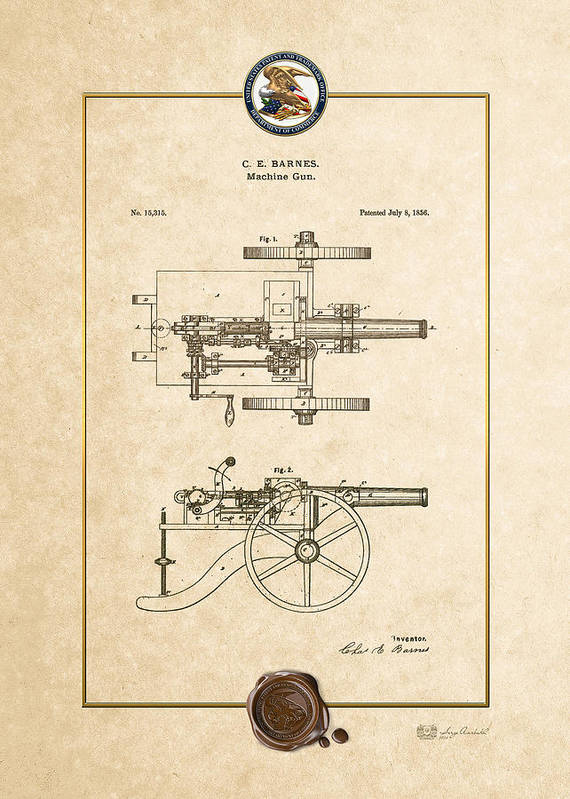 C7 Vintage Patents Weapons And Firearms Poster featuring the digital art Machine Gun - Automatic Cannon By C.e. Barnes - Vintage Patent Document by Serge Averbukh