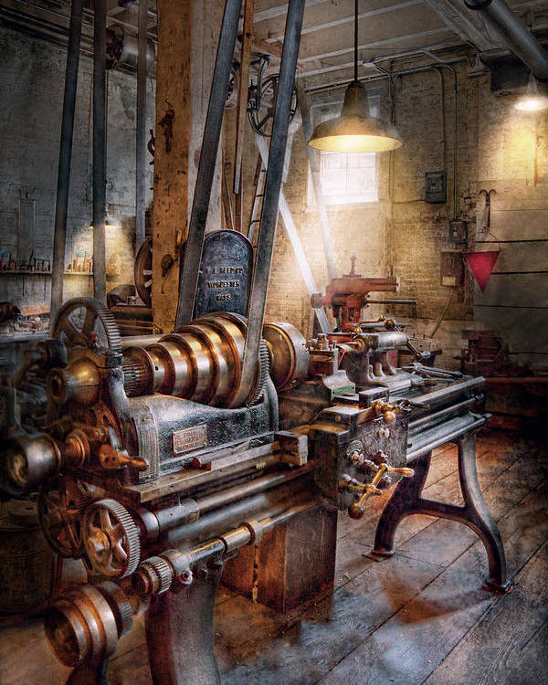 Machinists Poster featuring the photograph Machinist - Fire Department Lathe by Mike Savad