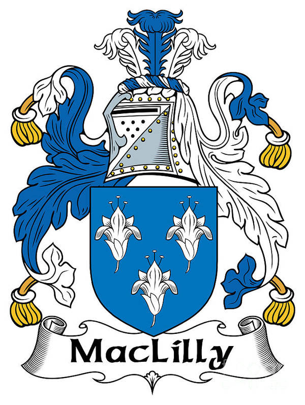 Maclilly Poster featuring the digital art Maclilly Coat Of Arms Irish by Heraldry