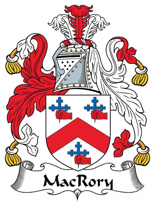 Macrory Poster featuring the digital art Macrory Coat Of Arms Irish by Heraldry