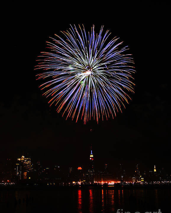 New York Skyline Fireworks Poster featuring the photograph Fireworks Over The Empire State Building by Nishanth Gopinathan