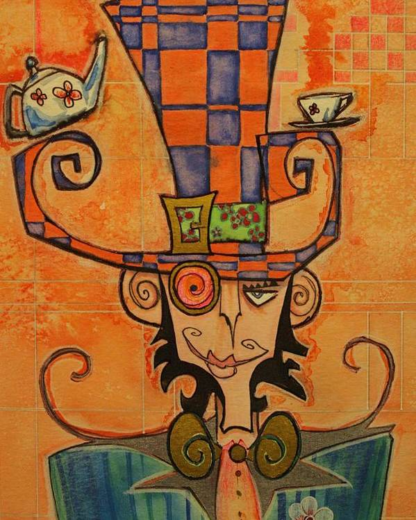 Mad Hatter Poster featuring the drawing Mad Hatter by Ellen Henneke