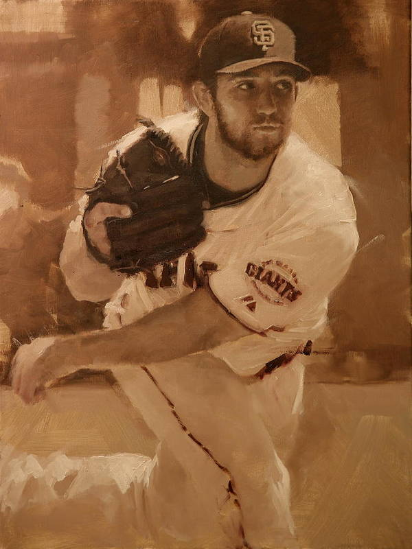 Madison Bumgarner Poster featuring the painting Madbum 2012 by Darren Kerr