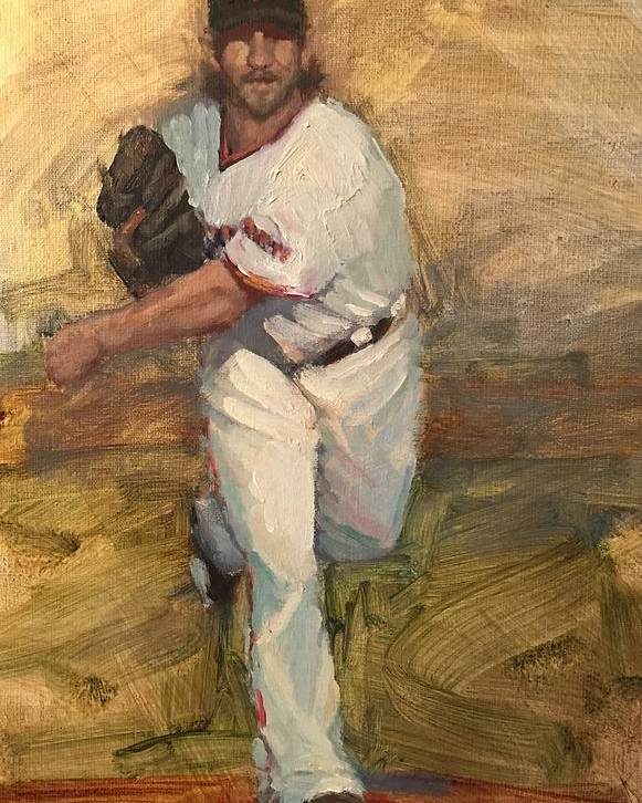 Madison Bumgarner Poster featuring the painting Madbum Warmup Sketch by Darren Kerr