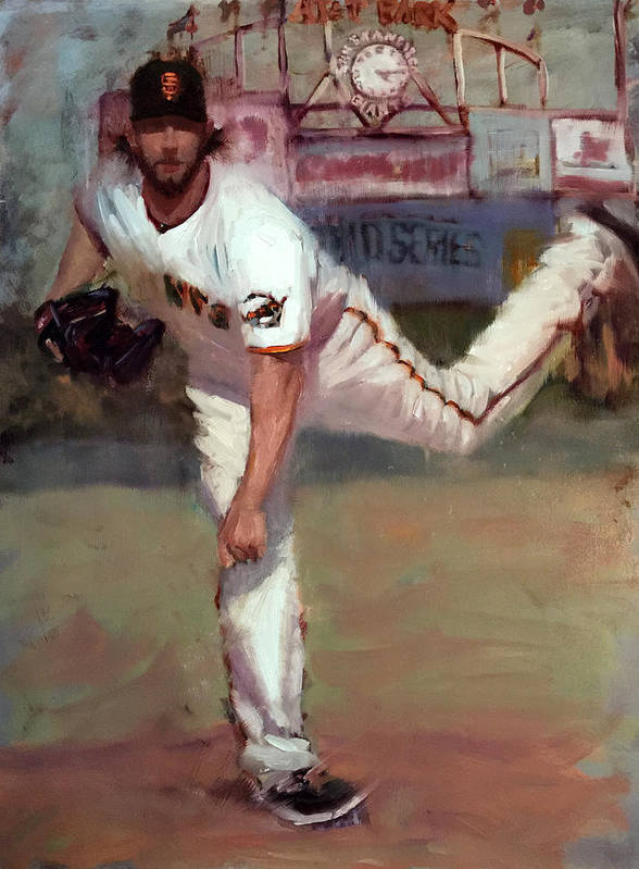 Madison Bumgarner Poster featuring the painting Madbum World Series MVP by Darren Kerr