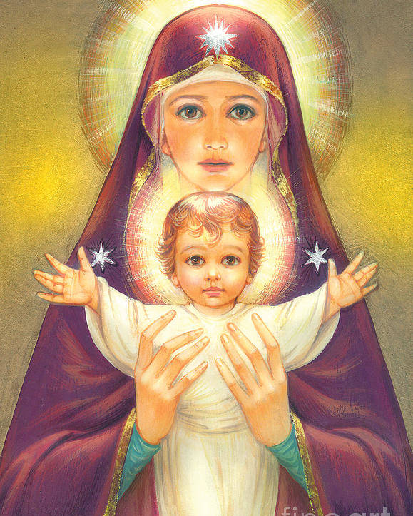 Mother Of God Poster featuring the digital art Madonna And Baby Jesus by Zorina Baldescu