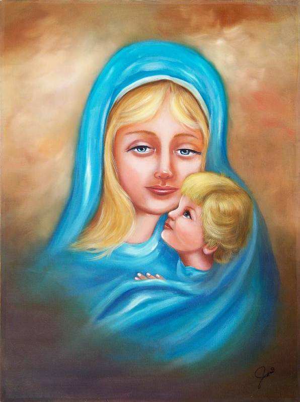 Christmas Poster featuring the painting Madonna And Child by Joni McPherson