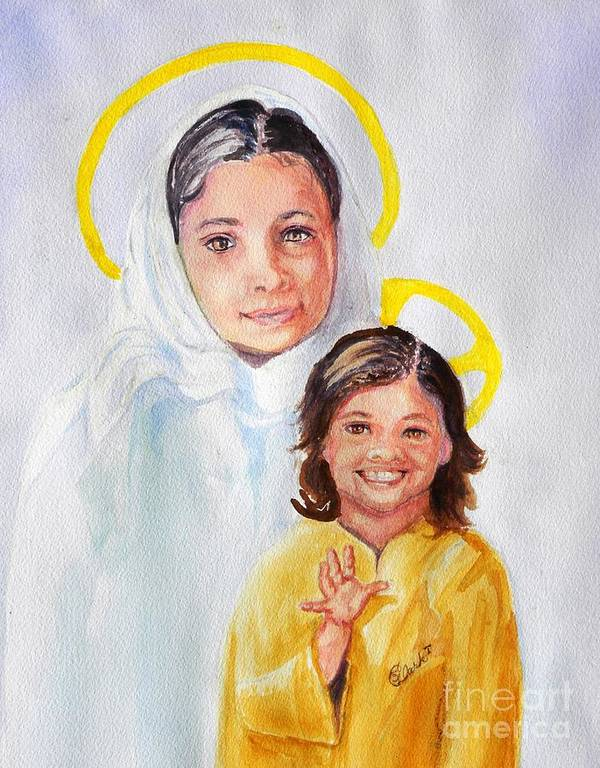 Mary And Jesus Poster featuring the painting Madonna And Child by Susan Lee Clark