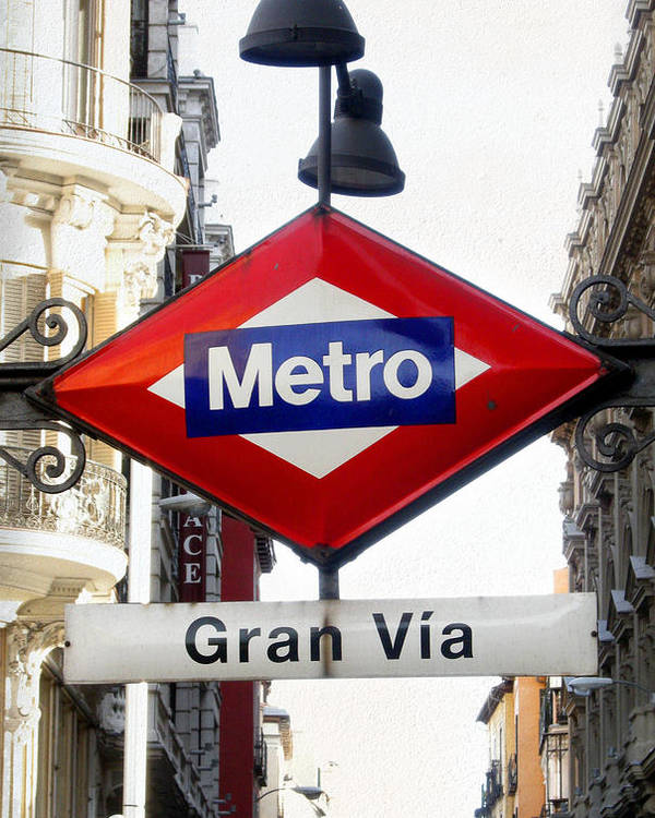 Spain Poster featuring the photograph Madrid Metro Sign by Perry Van Munster