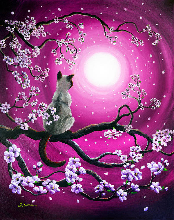 Japanese Poster featuring the painting Magenta Morning Sakura by Laura Iverson