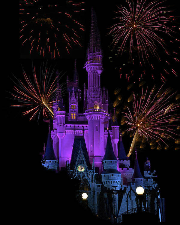 Castle Poster featuring the photograph Magic Kingdom Castle In Purple With Fireworks 03 by Thomas Woolworth