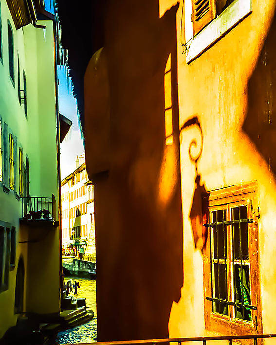 Jenny Rainbow Fine Art Photography Poster featuring the photograph Magic Lantern On The Walls Of Annecy by Jenny Rainbow