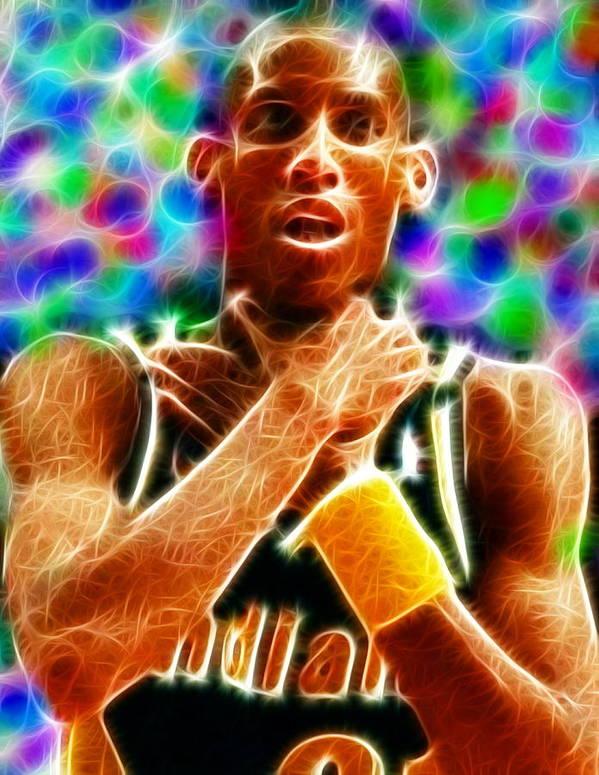 Reggie Miller Poster featuring the painting Magical Reggie Miller Choke by Paul Van Scott