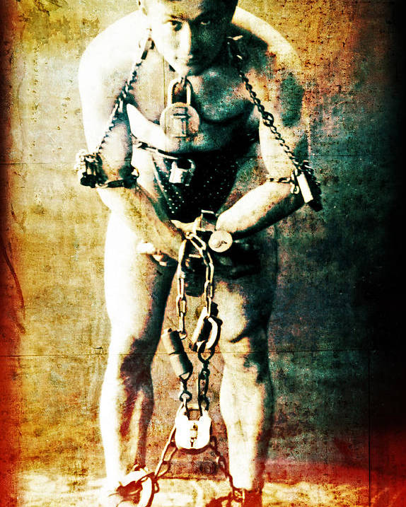 Magic Poster featuring the photograph Magician Harry Houdini In Chains  by Jennifer Rondinelli Reilly - Fine Art Photography