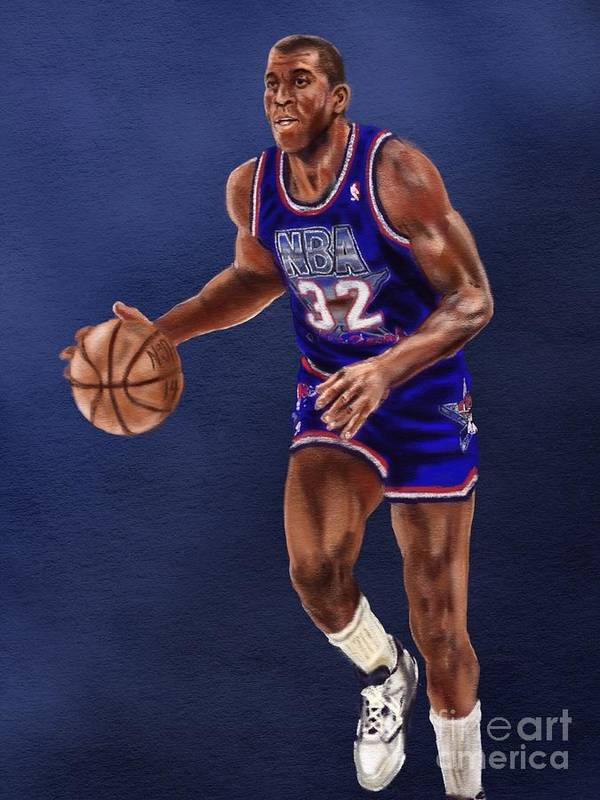 Magic Johnson Poster featuring the drawing Magic's Return by Jeremy Nash