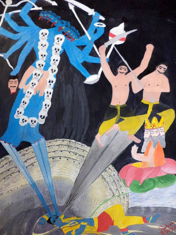 The Great Goddess Poster featuring the painting Mahakali by Pratyasha Nithin
