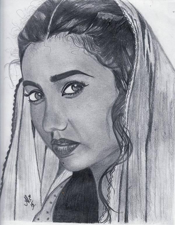 Mahira Khan Poster featuring the drawing Mahira Khan by Bobby Dar