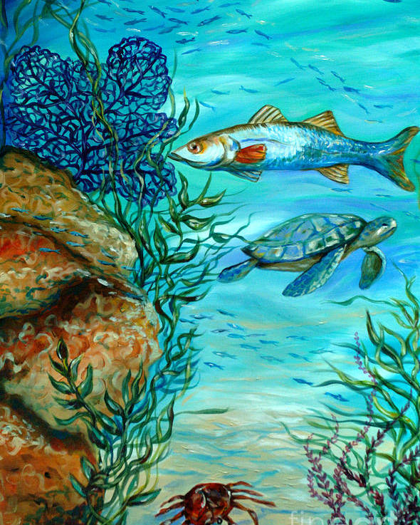 Coral Reef Poster featuring the painting Maho Bay Center by Linda Olsen