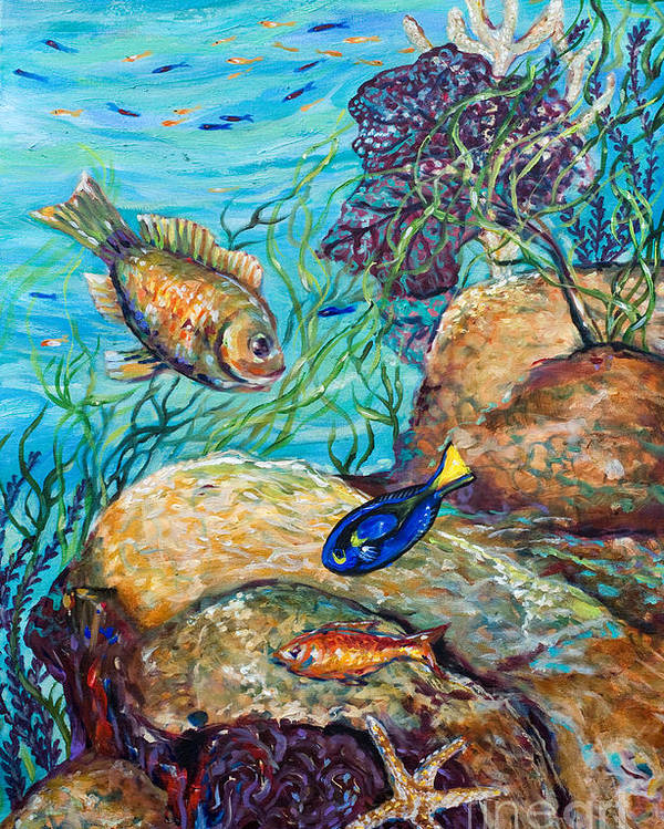Coral Reef Poster featuring the painting Maho Bay Left by Linda Olsen