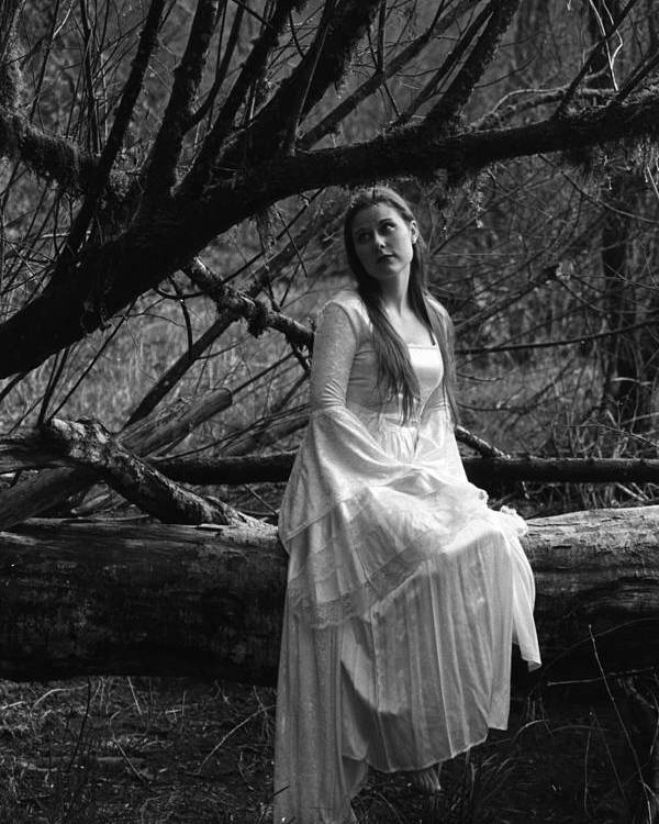 Black And White Poster featuring the photograph Maiden In The Forest by Mel Duncan
