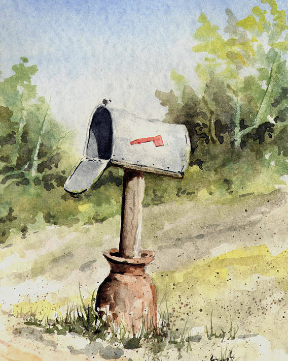 Mail Poster featuring the painting Mailbox by Sam Sidders