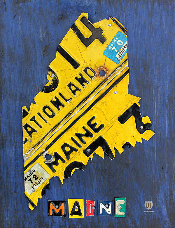Maine Poster featuring the mixed media Maine License Plate Map Vintage Vacationland Motto by Design Turnpike