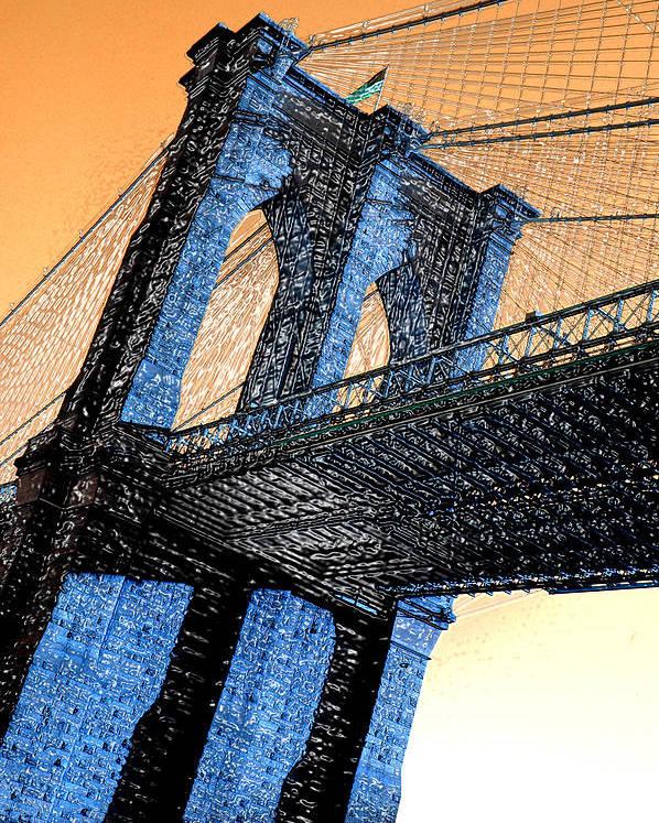 Brooklyn Bridge Poster featuring the photograph Majestic Bridge by Gilda Parente