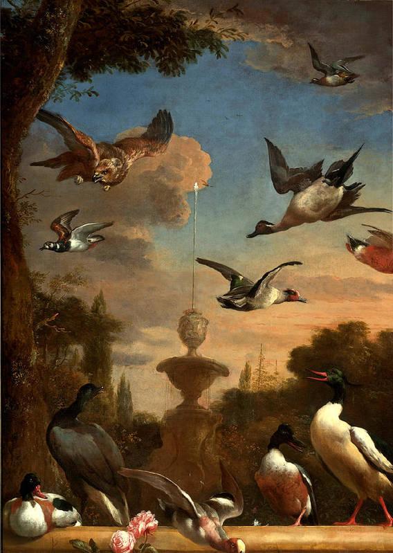 Melchior De Hondecoeter Poster featuring the digital art Mallard Golden Eagle Wild Fowl In Flight by Melchior de Hondecoeter