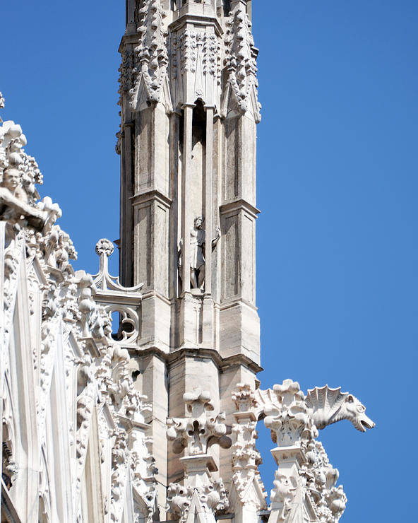 Vertical Poster featuring the photograph Man And Dragon Gargoyles With Tower Duomo Di Milano Italia by Sally Rockefeller