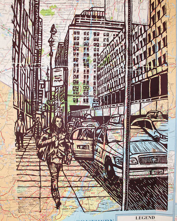 Nyc Poster featuring the drawing Manhattan On Map by William Cauthern