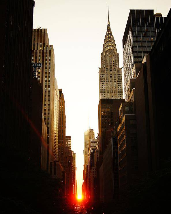 New York City Poster featuring the photograph Manhattanhenge Sunset and the Chrysler Building by Vivienne Gucwa