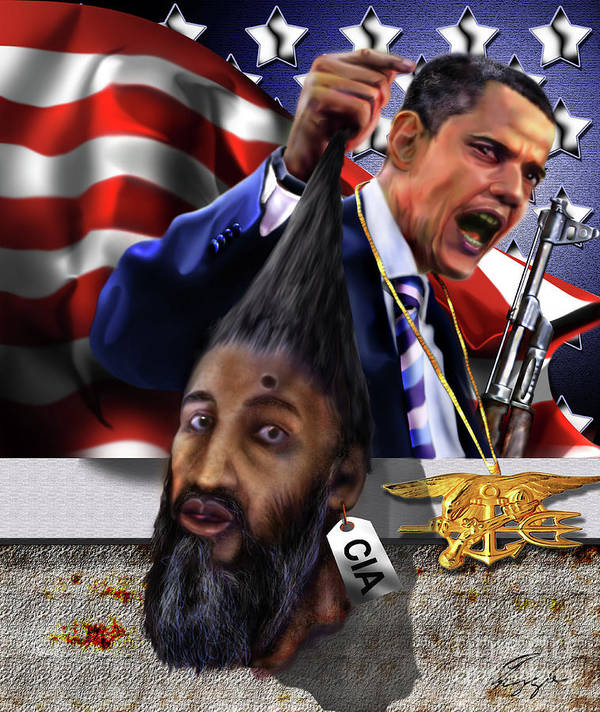 Osama Be Laden Poster featuring the painting Manifestation Of Frustration - I Am Commander In Chief - Period - On My Watch - Me And My Boys 1-2 by Reggie Duffie