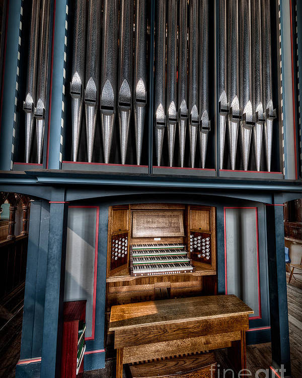 Organ Poster featuring the photograph Manual Pipe Organ by Adrian Evans