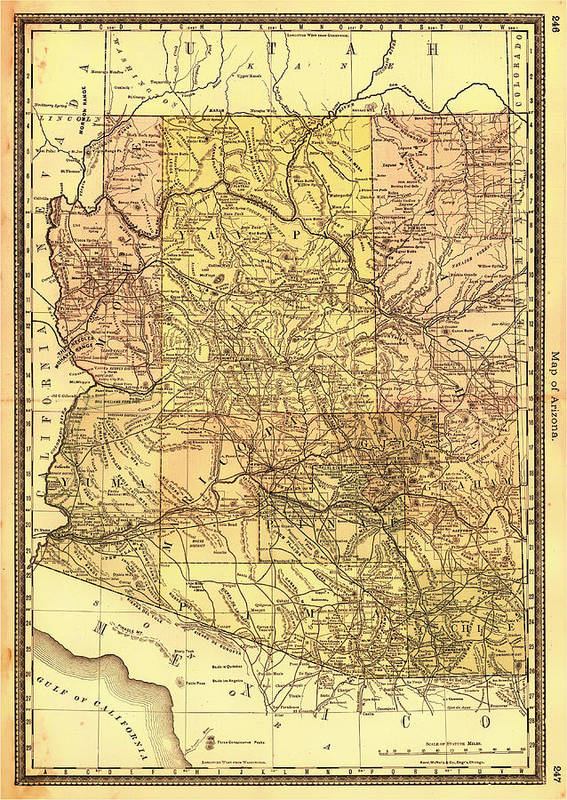 Map Poster featuring the drawing Map Of Arizona 1883 by Mountain Dreams