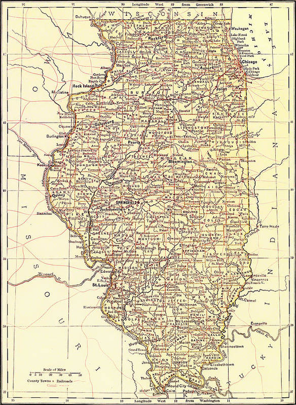 Map Poster featuring the drawing Map Of Illinois 1881 by Mountain Dreams
