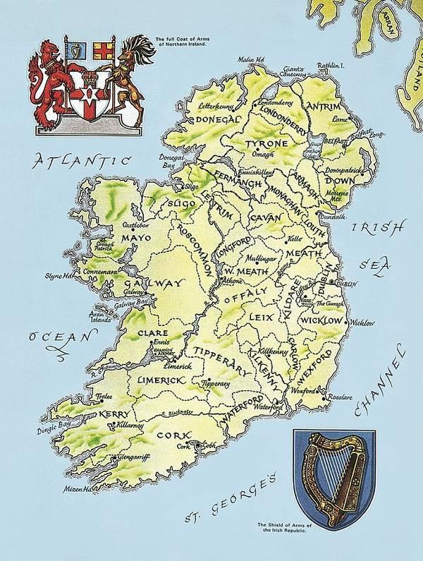 Map Of Ireland Poster.Map Of Ireland Poster By English School