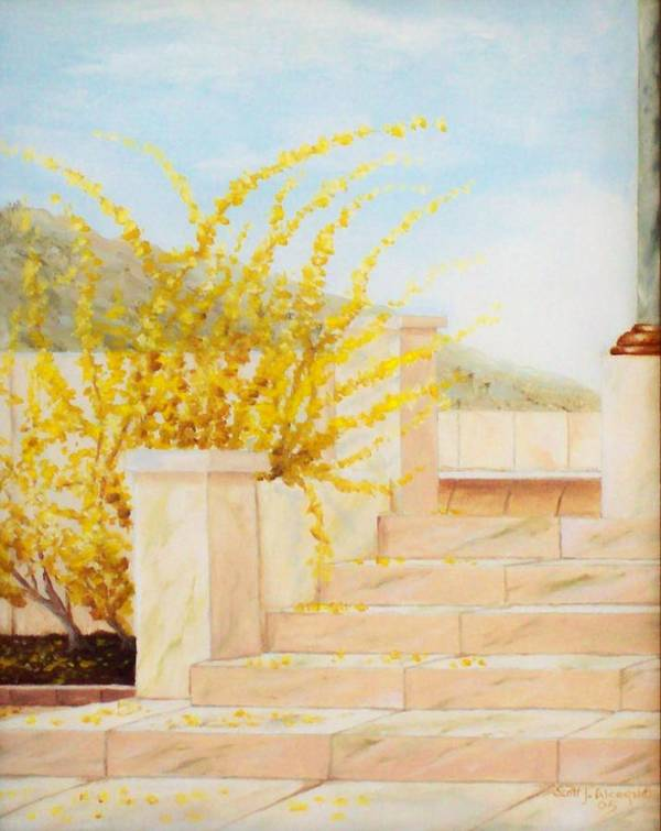 Landscape Poster featuring the painting Marble Steps by Scott Alcorn
