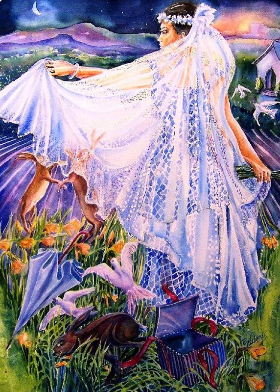 Bride Poster featuring the painting March Bride With Boxing Hares by Trudi Doyle